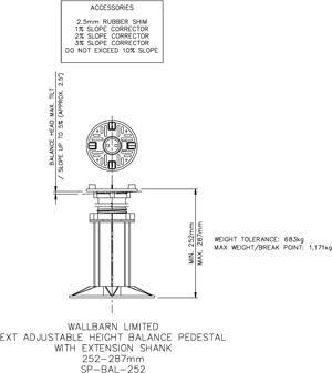 252-287mm BALANCE adjustable pedestal