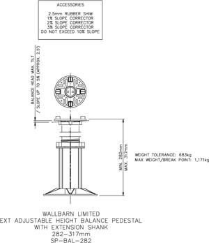 282-317mm BALANCE adjustable pedestal
