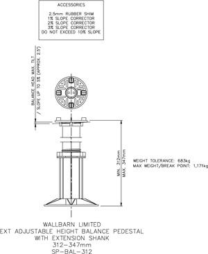 312-347mm BALANCE adjustable pedestal