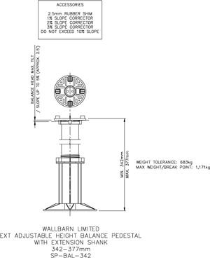342-377mm BALANCE adjustable pedestal