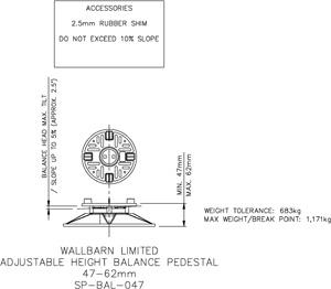 47-62mm BALANCE adjustable pedestal