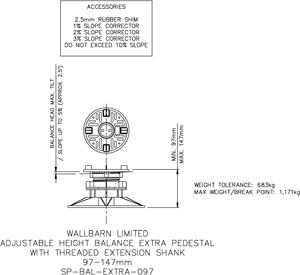 97-147mm BALANCE EXTRA adjustable pedestal