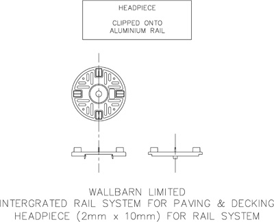 Headpiece (2mm x 10mm) for rail system