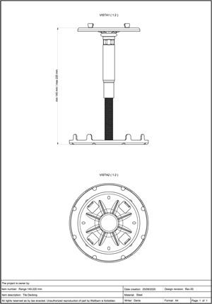 Class A2-s1, d0 Pedestal for Decking 140-220mm