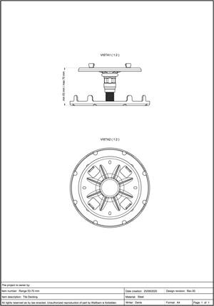 Class A2-s1, d0 Pedestal for Decking 53-70mm