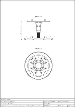 Class A2-s1, d0 Pedestal for Decking 70-100mm